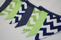 Boys Bunting - CHEVRONS in GREEN & NAVY window treatment