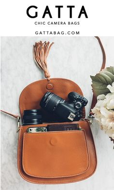 Chic and stylish camera bag for women. Fits DSLR and Mirrorless cameras. Brown l… Chic and stylish camera bag for women. Fits DSLR and Mirrorless cameras. Camera Purse, Leather Camera Bag, Camera Nikon, Canon Cameras, Cute Camera Bag, Reflex Camera, Perfect Camera, Camera Hacks, Leather Bags