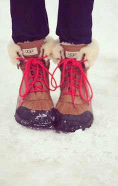 Black shoes strings and I would love these for the winter.