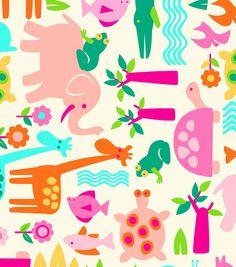 Nursery Fabric- Girl Animals Cream : nursery fabric : fabric :  Shop   Joann.com