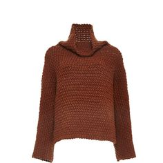 Rosetta Getty Chunky Merino Wool Hand Knit Turtleneck Pullover ($1,100) ❤ liked on Polyvore featuring tops, sweaters, merino wool sweater, chunky turtleneck sweater, loose sweater, polo neck sweater and loose tops