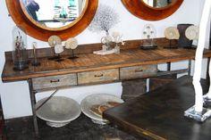 worktable of reclaimed wood