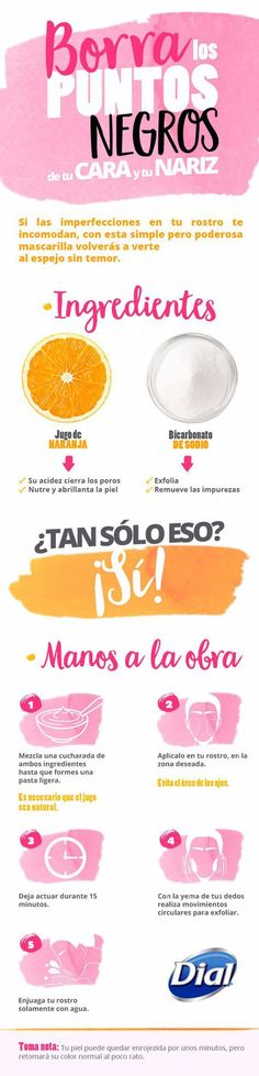 Remedio casero a base de naranja y bicarbonato para eliminar los puntos negros que aparecen en cara y nariz. #infografias #belleza #puntosnegros