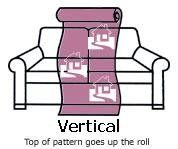 Picture depicts the orientation of vertical fabric on furniture