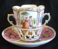 Dresden Porcelain Trembleuse Chocolate Cup & Saucer Helena Wolfsohn