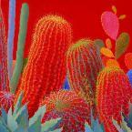 Desert Brilliance Contemporary Cactus Art By Sharon Weiser