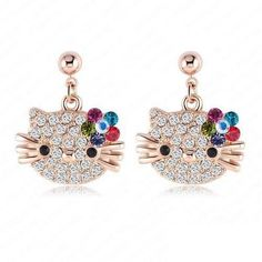CAT FLOWER AUSTRIAN CRYSTAL KITTEN EARRINGS. Now 11.99$ Available in Different colors Check out for more in our store