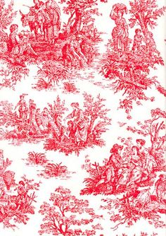 red & white jamestown toile fabric for curtains