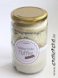 Backmischung im Glas - Heidelbeer-Weiße Schoko-Muffins incl. Etiketten mit Backanleitung.