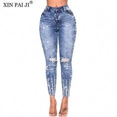 a887ea3148b98 New 2018 Spring Summer Stretchy Blue Hole Ripped  jeans Woman Denim Pants  Trousers For Women