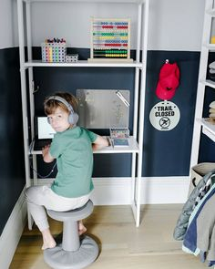 When Erin Hiemstra of @apartment_34 found out her son would be starting kindergarten from home, she set out to create a clever, at-home classroom solution... in his closet!! We LOVE how she configured The Everyday System™, our modular collection with @marthastewart, to achieve this double-duty space that's fun, functional and primed for productivity. www.domino.com/content/kids-closet-home-classroom/ #kidsdesk #homeschool #virtualschool #kidsdesk #kidsrooms #homeworkstation Classroom Solutions, Starting Kindergarten, Learning Stations, California Closets, Homework Station, Kid Closet, Custom Closets, Kids Storage, Closet Designs