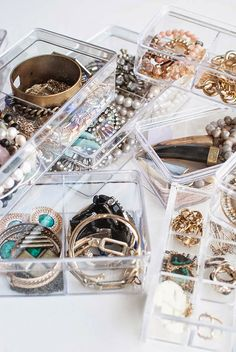 Repurpose clear drawer organizers for accessible jewelry storage
