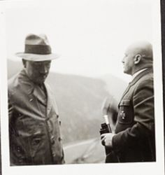 Hitler candid from Eva Braun. That's the odious Streicher on the right. It's surprising Hitler would allow him around Eva. Most sources have Streicher banned from Hitler much after (via putschgirl) Julius Streicher, The Third Reich, Historical Photos, Ww2, Unity, Candid, German, Jacket, Friends