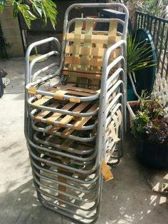 8 Mid Century aluminum stackable chairs | Home & Garden, Yard, Garden & Outdoor Living, Patio & Garden Furniture | eBay!