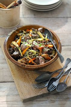 Wild Side Stew with Barley, Lentils and Mushrooms by seasons.nl