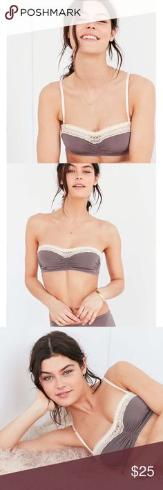NWT Out From Under Micro Lace Trim Bandeau Bra Beautiful grey color!! NWT!! Has convertible straps! Has front soft cup underwire style with straight lace trim. Also has hook and eye back closure. Made of Nylon, spandex Urban Outfitters Intimates & Sleepwear Bandeaus