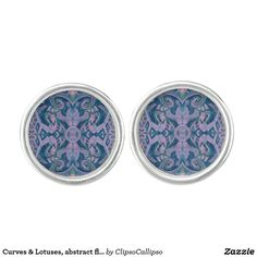 Curves & Lotuses, abstract floral, lavender & blue Cufflinks