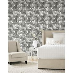 RoomMates Gingko Leaves Peel & Stick Wallpaper - Black, White / Roll