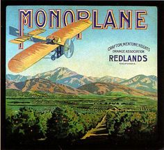 Redlands Monoplane Airplane Orange Citrus Crate Label Art Print