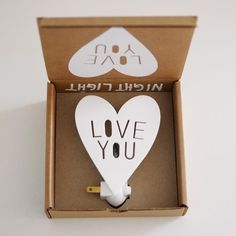 The cutest night light that we ever did see! This Love You night light is perfectly packaged, you hardly need to wrap it! Please note that this night light is for upright outlets, the light