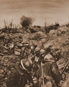 French troops following a successful assault on German trench, 1916.
