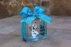 Olaf Glass Block Bank by KimsKreationsG on Etsy, $26.00
