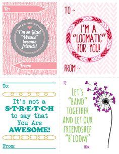 FREE Printable Rainbow Loom themed Valentines.