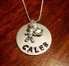 Stamped Jewelry  - Little Boy Charm Necklace by Southern Charm Designs