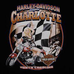 Harley Davidson T-Shirt Large Racing Pin Up Girl Checkered Flag Charlotte, NC