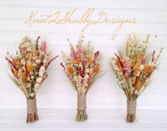 Fall dried bridesmaid bouquet by Knot2ShabbyDesigns on Etsy