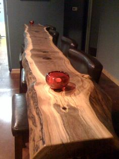 Live edge bar. Designed for a tasting room in Woodinville, WA by Salmon Bay Woodworks.