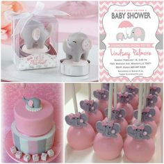 Pink and Grey Elephant Baby Shower Inspiration for A Girl from HotRef.com…