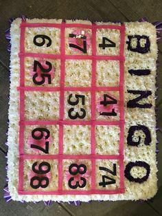 Bingo funeral flower tribute, bespoke flowers, specialist funeral flower tributes, pink and lilac funeral tribute.