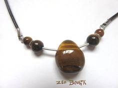 Collier Oeil de Tigre, Collier Zen, Collier Pierre Oeil de Tigre, Cuir, Bijoux Zen Boutik : Collier par zenboutik