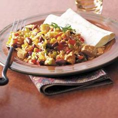 """Mexican Stir-Fry Recipe -A tasty blend of peppers makes this skillet meal popular at Becky Taaffe's home in San Jose, California. """"Not only have I prepared it for everyday meals, but also for church dinners, potlucks and family get-togethers. There are never any leftovers,"""" she reports."""