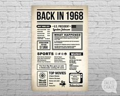 Back In 1968 Newspaper-Style DIGITAL Poster, 50th Birthday PRINTABLE Sign, 1968 Birthday, 50th Birthday Gift, 1968 Sign, 1968 Poster