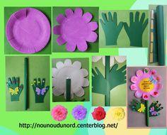 Une jolie fleur de printemps que Gaspard a réalisé avec une assiette en carton cadeau pour l'anniversaire de sa maman.   Preindre en rose l'intérieur d'un assiette en carton, fairedes entailles sur ...