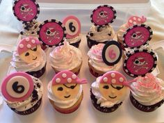Pink girl pirate cupcakes. Made them for my friends daughter!