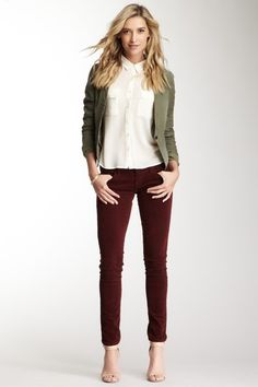 This outfit could probably be pulled off with a creme colored blazer, rather than the green.