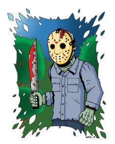 JASON VOORHEES FRiDAY the 13TH Halloween Horror Movie Art Print - Ltd 100 - Signed and Numbered