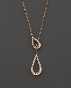 Bloomingdale's Diamond Teardrop Lariat Necklace in Rose Gold, ct. - Exclusive Jewelry & Accessories - Fine Jewelry - All Fine Jewelry - Bloomingdale's Diamond Pendant, Diamond Jewelry, Pendant Set, Modern Jewelry, Fine Jewelry, Contemporary Jewellery, Beaded Jewelry Designs, Black Gold Jewelry, Lariat Necklace