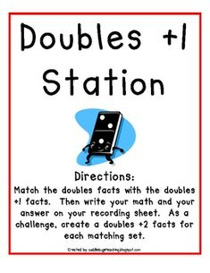 Here's a set of station materials for working on doubles and doubles +1 facts. Recording sheet included.