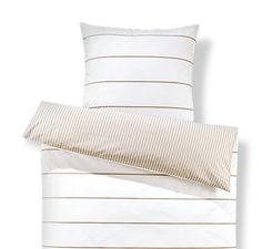 Obojstranná posteľná bielizeň z perkálu, štandardná veľkosť, krémový prúžok Bed Pillows, Pillow Cases, Creme, Shopping, Nice Asses, Pillows
