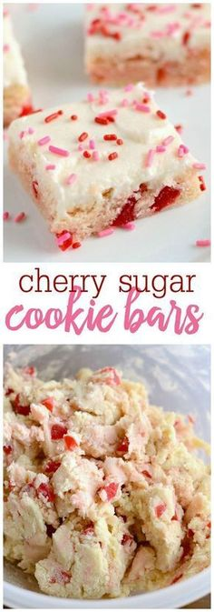 Cookie Bars with Cream Cheese Frosting Cherry Sugar Cookie Bars with Cream Cheese Frosting - one of the best desserts you'll try!Cherry Sugar Cookie Bars with Cream Cheese Frosting - one of the best desserts you'll try! Desserts Nutella, Köstliche Desserts, Dessert Recipes, Bar Recipes, Chocolate Desserts, Recipies, Finger Desserts, Cherry Desserts, Healthier Desserts