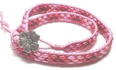 Bracelet de cuir rose avec perles double wrap -Pink Leather Double Wrap Bracelet de la boutique JoyaFab sur Etsy