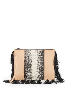 LOEFFLER RANDALL Tri-Tone Leather Fringe Convertible Clutch. #loefflerrandall #bags #shoulder bags #clutch #leather #hand bags #