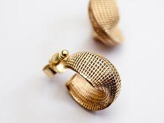 Small Mobius Hoop Earrings - Unique 14k Gold Dangle Earrings, Net Geometric…