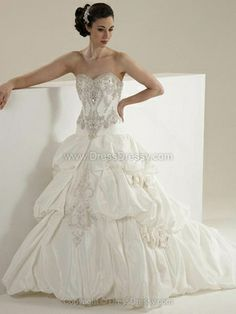 A-line Sweetheart Taffeta Sweep Train Beading Wedding Dresses -$331.79