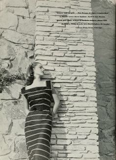 Pat Premo striped sundress in the July, 1946 issue of The Californian. 1940s Fashion, Classic Fashion, Vintage Fashion, Image Mode, Dieselpunk, Dark Colors, Dream Dress, Light In The Dark, Parisian