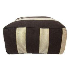 Moroccan Chocolate Beige Striped Pouf ($215) ❤ liked on Polyvore featuring home, furniture, ottomans, dark brown ottoman, stripe ottoman, moroccan furniture, cream footstool and beige ottoman